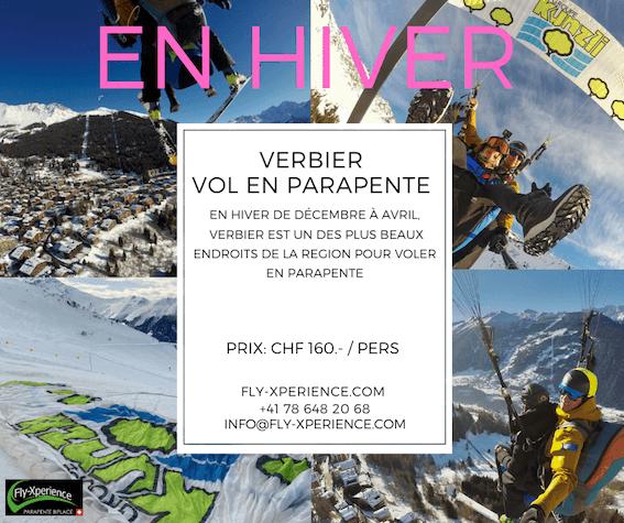 En hiver à Verbier – Parapente à ski